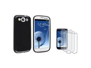 Insten Black jelly TPU Rubber Case + 3-Pack Anti-Glare Screen Protector compatible with Samsung Galaxy SIII / S3