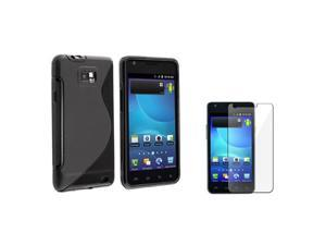 Insten Black S Shape TPU Rubber Skin Case Faceplate for Samsung Galaxy S 2 AT&T i777 + LCD Protector
