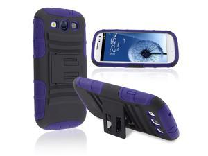 Insten Hybrid Blue Black Stand Silicone / Hard plastic Case Cover + Anti-Glare LCD Cover compatible with Samsung  Galaxy ...