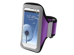 Insten Purple Armband Case Cover + Reusable Screen Protector compatible with Samsung  Galaxy SIII / S3