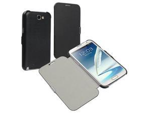 Insten Black Magnetic Flap Leather Case Cover + Reusable Screen Protector compatible with Samsung  Galaxy Note II N7100