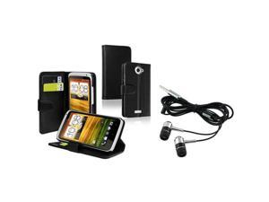 Insten Black Credit Card Wallet Leather Case + In-ear (w/on-off) Stereo Headsets Compatible With HTC One X