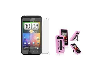Insten Black Hard / Pink Skin Hybrid Case + Reusable Screen Protector Compatible With HTC Droid Incredible 2