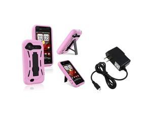 Insten Black Hard / Pink Skin Hybrid Case with 1 Travel/Wall Charger Compatible With HTC Droid Incredible 2