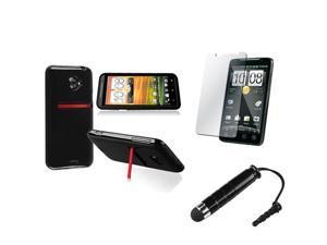 Insten Black Jelly TPU Rubber Skin Case + Stylus + Reusable Screen Protector Compatible with HTC EVO 4G LTE