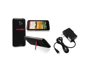 Insten Black Jelly TPU Rubber Skin Case + Travel Charger Compatible with HTC EVO 4G LTE