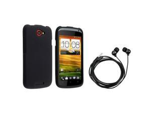 Insten Black Rubber Coated Case + On-off & Mic Stereo Headsets for HTC One S / Ville