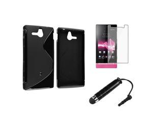 Insten Black S Shape TPU Rubber Skin Case + Clear Reusable Screen Protector + Stylus Pen for Sony Ericsson Xperia U ST25i
