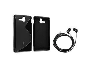 Insten Black S Shape TPU Rubber Skin Case + On-off & Mic Stereo Headsets for Sony Ericsson Xperia U ST25i