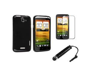 Insten Black TPU Rubber Jelly Case + LCD Cover + Stylus Pen Compatible With HTC One X