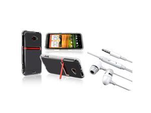 Insten clear Crystal hard plastic Case + White In-ear (w/on-off) Stereo Headsets compatible + HTC EVO 4G LTE