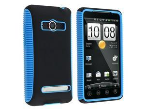 Insten White Black+Black Blue Hybrid TPU Hard Case+2 Screen Film For HTC EVO 4G Sprint