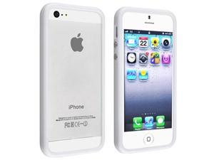 Insten White TPU Case Cover with Aluminum Button + White In-ear (w/on-off) Stereo Headsets Compatible with Apple iPhone 5