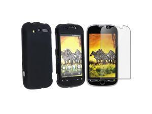 Insten Black Rubber Hard Case Cover+LCD Protector Cover For T-Mobile HTC Mytouch 4G