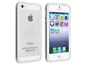 Insten Clear/ White TPU Case Cover with Aluminum Button + Silver Stylus Pen Compatible with Apple iPhone 5