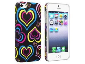 Insten Black/ Colorful Hearts Snap-on Rubber Coated Case Cover + Privacy Screen Cover compatible with Apple iPhone 5
