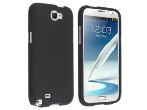 Insten Black Snap-on Rubber Coated Case Cover + Privacy Screen Protector Compatible with Samsung Galaxy Note II N7100