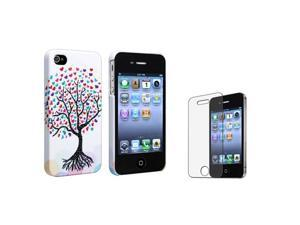 Insten Romantic Cute Colorful Love Tree Hearts Rubber Case + Anti-glare Screen Protector Compatible with Apple iPhone 4 / ...