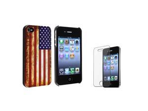 Insten US Flag Snap-on Case + Reusable Screen Protector Compatible with Apple iPhone 4 / 4S