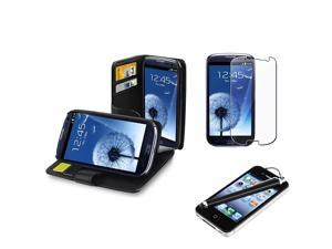 Insten Black Leather Wallet Case + Clear Film + Stylus for Samsung Galaxy S 3 S III