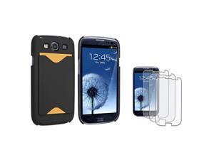 Insten Black Phone Case Card Holder + 3 Pack Matte Guard For Samsung Galaxy SIII S3 i9300