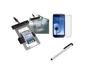 Insten Black Waterproof Bag Case + Matte screen protector Guard + Pen Stylus For Samsung Galaxy S3 i9300