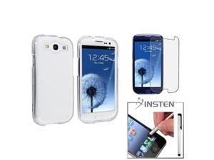 Insten Clear Hard Case + Anti-Glare LCD + Silver Stylus For Samsung Galaxy S3 i9300