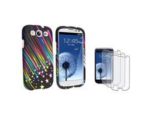 Insten Rainbow Star Phone Case + 3 Pack Anti-Glare Guard For Samsung Galaxy S3 SIII i9300