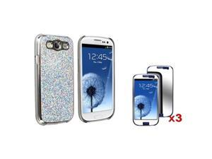 Insten Silver Glitter Phone Case + 3 Pack Mirror Guard For Samsung Galaxy S III S3 i9300