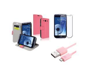 Insten Pink Wallet Leather Case + Clear Film + Cable for Samsung Galaxy S III S 3 i9300
