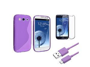 Insten Purple S Shape Rubber Gel Case + Clear Guard + USB for Samsung Galaxy S 3 III i9300