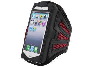 Insten Deluxe ArmBand Compatible with Apple iPhone 5 / 5S / touch 5th Generation, Black/ Red