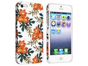 Insten Snap-on Rubber Coated Case Cover Compatible with Apple iPhone 5, Flower Rear Style 59