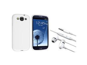 Insten White Jelly TPU Case + In-ear (w/on-off) Stereo Headsets compatible with Samsung Galaxy S3