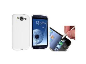 Insten White Jelly TPU Case + Silver Stylus Pen for Samsung Galaxy S III