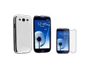 Insten Clear White Raindrop Snap on Case + Anti-Glare LCD Cover Compatible With Samsung Galaxy SIII / S3