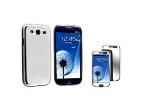 Insten Clear White Raindrop Snap on Case +  Mirror Screen Protector Compatible With Samsung Galaxy SIII / S3
