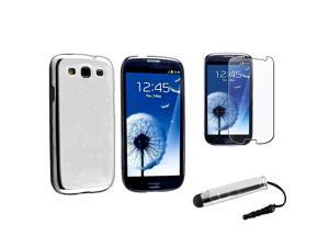 Insten Clear White Raindrop Snap on Case +  LCD Cover + Stylus Pen Compatible With Samsung Galaxy SIII / S3