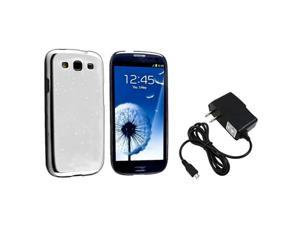 Insten Clear White Raindrop Snap on Case + Travel/Wall Charger Compatible With Samsung Galaxy SIII / S3