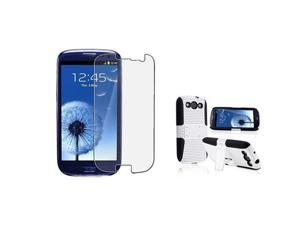 Insten Black Skin / White Meshed Hard With Stand Hybrid Case + Anti-Glare LCD Cover Compatible With Samsung Galaxy S III ...
