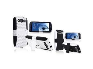 Insten 2 packs of With Stand Hybrid Cases : Black Skin / White Meshed Hard , White Skin / Black Meshed Hard Compatible With ...