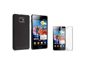 Insten Ultra-thin Snap-on Black Rear Case + Diamond Screen Protector Compatible With Samsung Galaxy S II/ S2