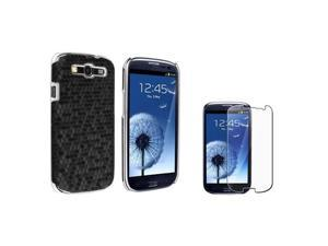 Insten Black Chrome Rear Snap-on Leather Case + Reusable Screen Protector compatible + Samsung Galaxy S III / S3