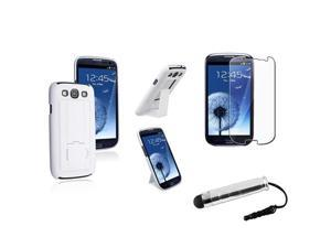 Insten White Snap on Stand Rubber Hard Case + LCD Cover + Stylus Pen Compatible With Samsung Galaxy SIII / S3