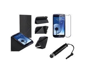 Insten Black Leather Flip Foldable Stand Case + LCD Cover + Stylus Pen Compatible With Samsung Galaxy SIII / S3