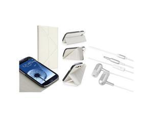 Insten White Foldable Stand Leather Flip Case + White In-ear (w/on-off) Stereo Headsets Compatible With Samsung Galaxy SIII ...