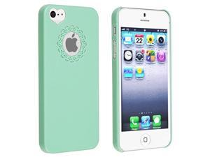 Insten Mint Green Sweet Heart Clip-on Case Cover + Front & Back LCD Cover Compatible With Apple iPhone 5 / 5s 898170