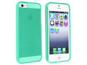 Insten Clear Neon Green TPU Rubber Case Cover + Colorful Diamond Screen Protector compatible with Apple  iPhone  5