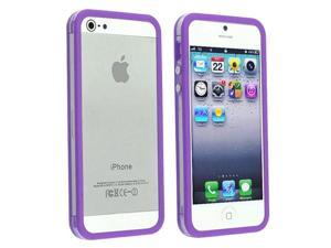 Insten Bumper TPU Case Cover with Aluminum Button compatible with Apple iPhone 5 / 5S, Clear/ Purple