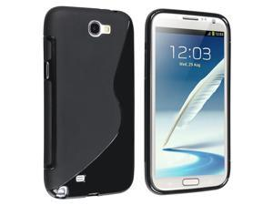 Insten TPU Rubber Skin Case Cover Compatible with Samsung Galaxy Note II N7100, Black S Shape